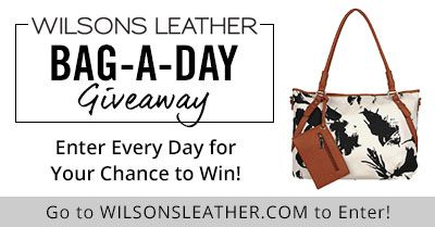 Wilsons Leather is giving away one bag each day through Feb 28, 2016!  Enter each day for your chance to win.  Get bonus entries when you share and your friends enter!