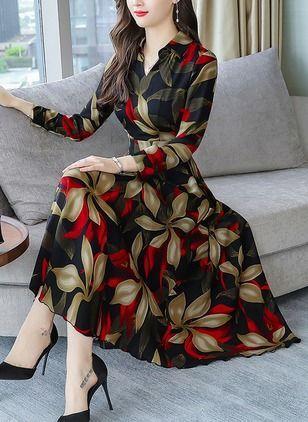 VENTE-45%. 45,99 $ US. Chemise florale à manches longues robe trapèze. Matéri…
