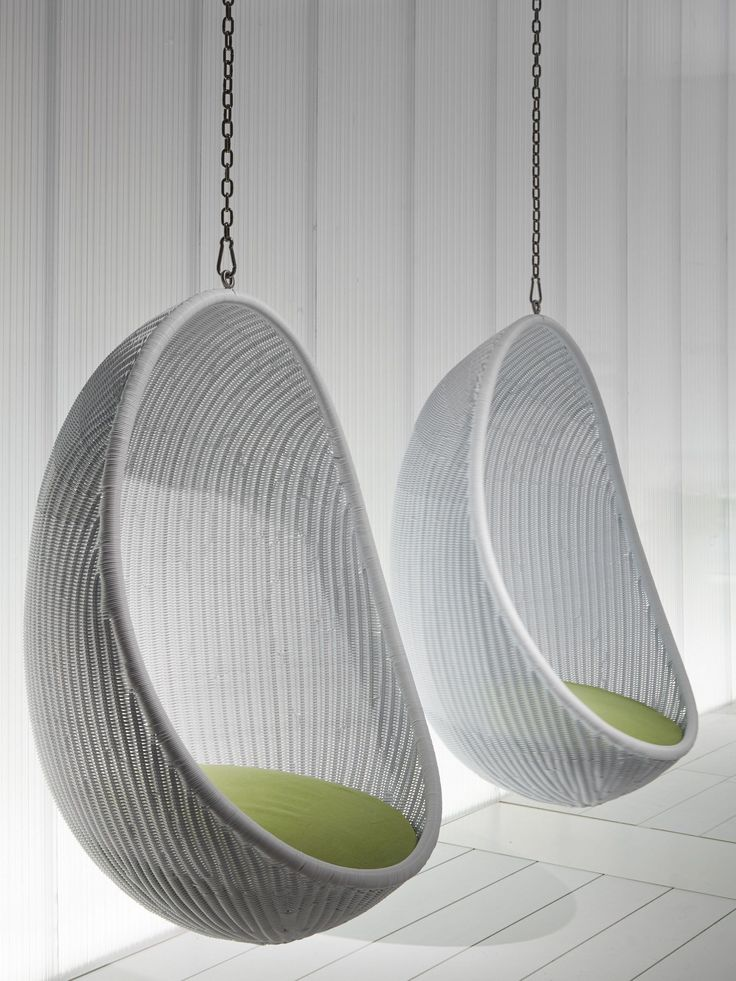 Furniture: Nice Looking White Woven Rattan Two Hanging Egg Chair With White Wooden Wall Panels As Decorate Classy Veranda Furnishing Designs. Indoor Hanging Chair, Cocoon Chair Ikea, Hanging Bubble Chair, Rattan Swinging Egg Chair, Outdoor Hanging Chair | Ranzom.com #EggChair