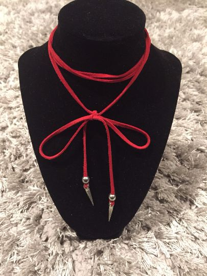 Long Red Choker Wrap Necklace With Spikes
