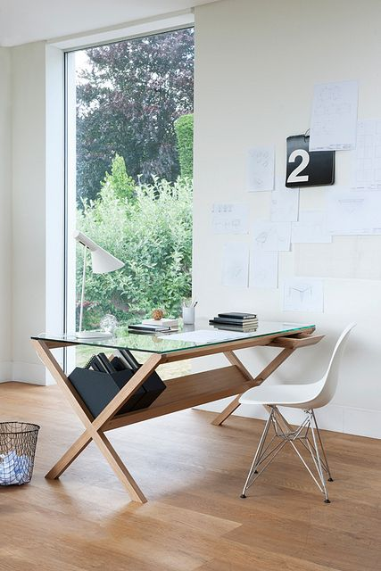 Attractive Solid Oak Frame Desk With Integrated Drawers And A Glass Top. Its Called  The Covet Desk And Was Created By Shin Azumi. It Is Absolutely Covet Able. Design