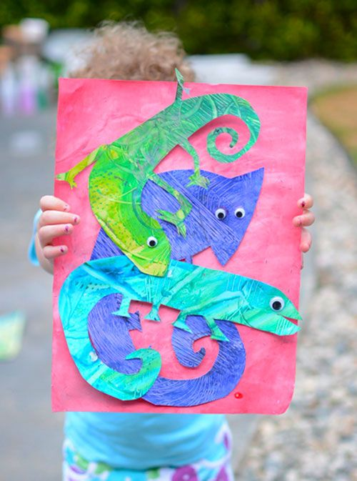 Eric Carle Inspired Mixed Up Chameleon Art