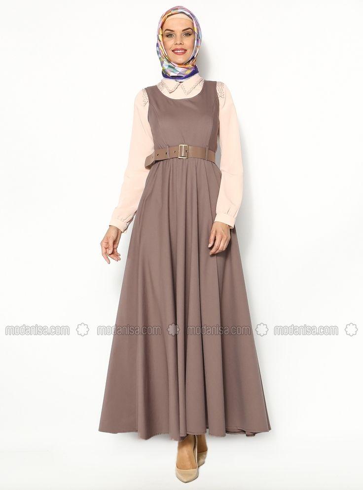 Kemerli Jile Elbise - Vizon - Sultan - I Yegah