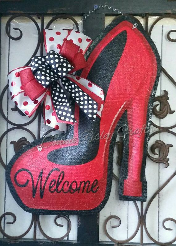 High Heel Shoe Burlap Door Hanger by ConnieRisleyCrafts on Etsy & 25+ unique Burlap door signs ideas on Pinterest | Burlap door ... pezcame.com
