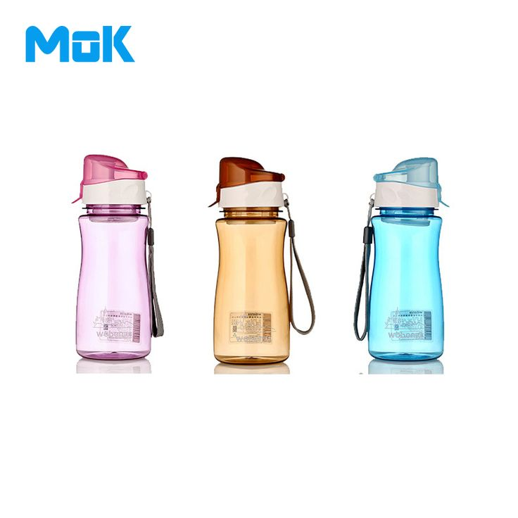 Puer Tea+MOK Seal Nozzle Sports Cover Plastic Water Bottles 550ml With Filter Rope Bicycle Brand My Fruit Transparent Cups