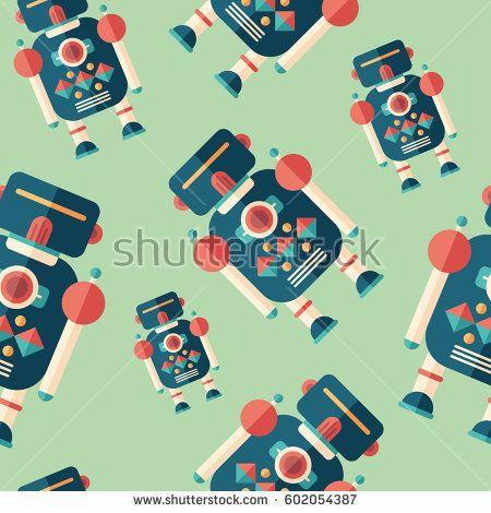 Robot soldier flat icon seamless pattern. #robots #robotics #vectorpattern #patterndesign #seamlesspattern
