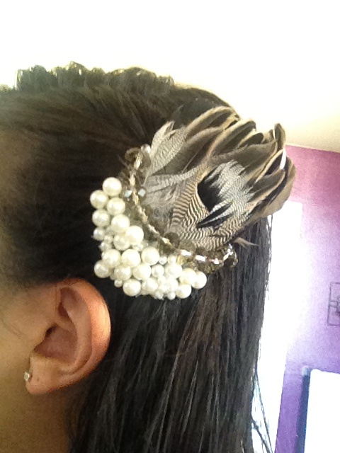 Pretty hair piece made from pintail duck we caught while hunting!!
