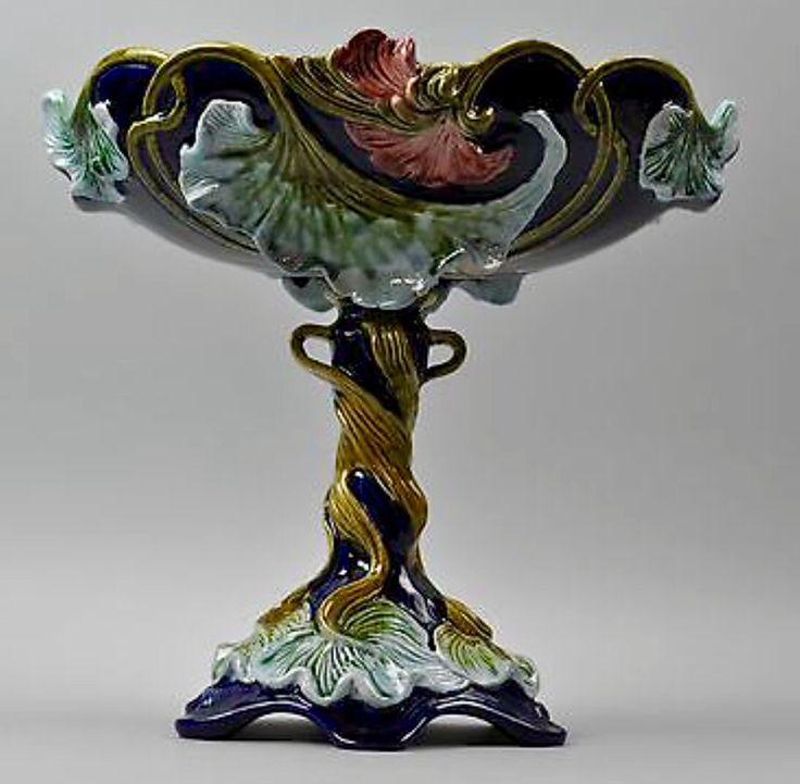 Antique C.19th Ws&s Wilhelm Schiller & Son Continental Majolica Figural Compote