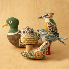 Takayama birds are block printed on linen and each bird is stuffed