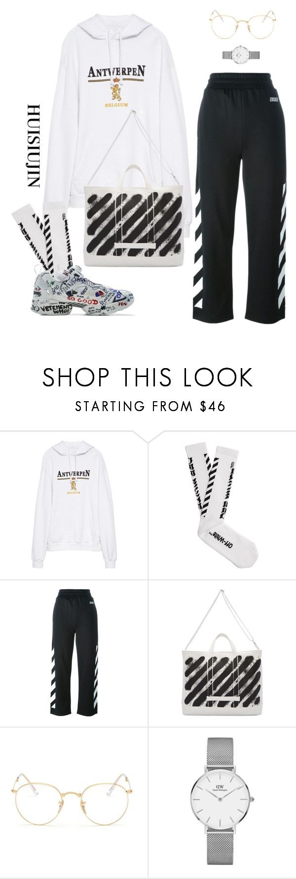 """#55"" by huisiujinxxx ❤ liked on Polyvore featuring Vetements, Off-White, Reebok, Ray-Ban and Daniel Wellington"