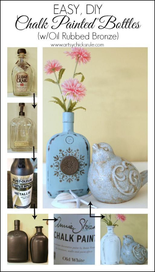 Easy, DIY Chalk Painted Bottles - Oil Rubbed Bronze- Start to Finish - artsychicksrule.com #thriftydecor #chalkpaint #oilrubbedbronze