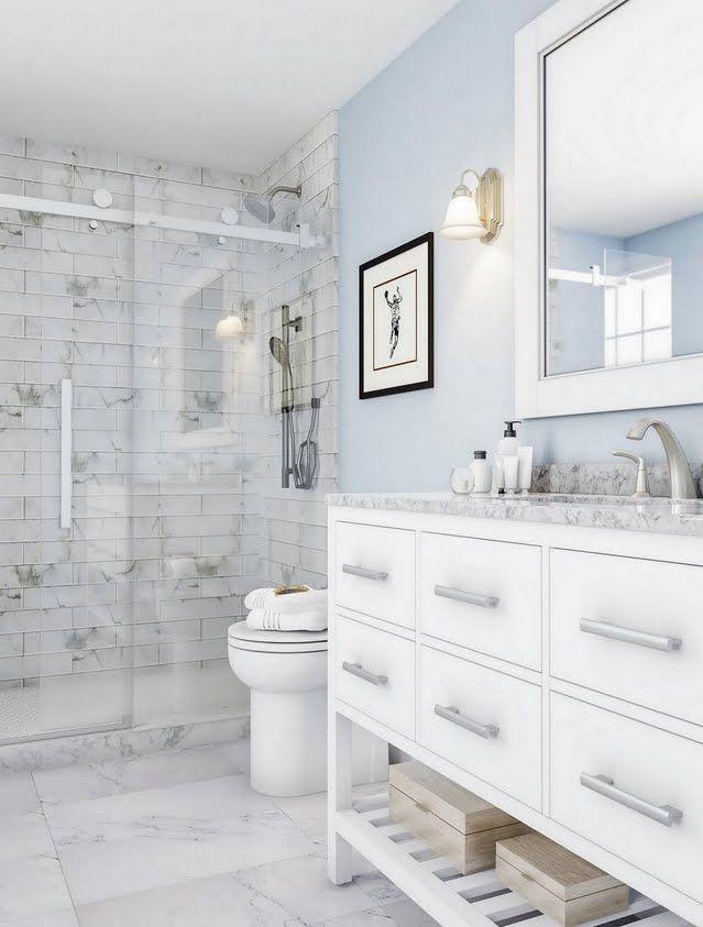 Modern Sky Blue And White Bathroom Bathroom Interior Bathrooms Remodel Light Blue Bathroom