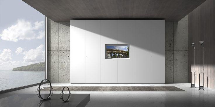 Armadio Loft 6 ante battenti, laccato opaco bianco con inserto kit TV