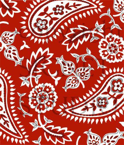Modern Paisley Print Large Red Bandana Pattern Sample