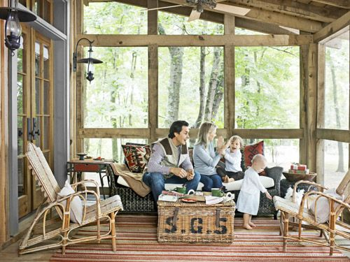 We have major screened-in porch envy. Tour the rest of this Tennessee cabin: http://www.countryliving.com/homes/house-tours/log-cabin-home-decor