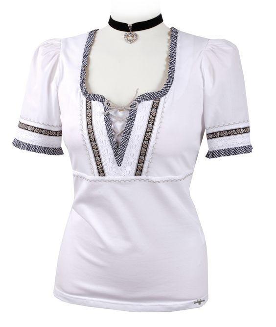 Trachtenshirt - T-Shirt Weiß/Schwarz - Trachtenbluse Damen - total fesch mit Karo-Spitzen - Trachtenmode und Dirndl - Trachtenshop