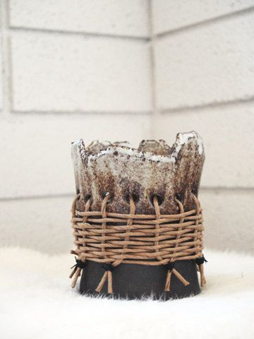 oreo standing pot with wicker wrap by twpottery on Etsy