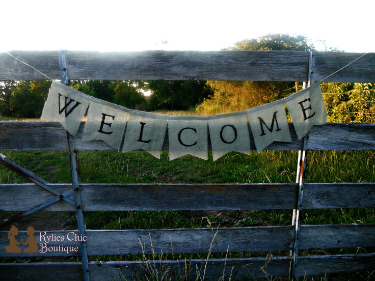 Welcome Burlap Banner. $21.00, via Etsy.: Coats Hooks, Engagement Parties, Welcome Signs, Banners 21, Farms Parties, Banners Photos, Burlap Banners, 2100, Photos Props