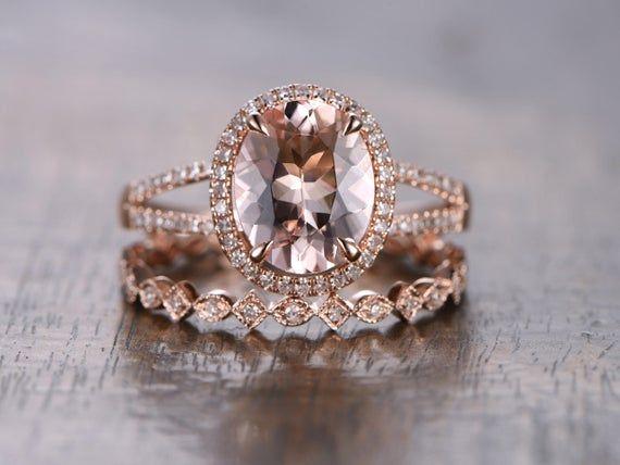 14k Rose Gold Morganite Engagement Ring Set 2pcs Diamond Etsy Morganite Engagement Ring Rose Gold Pink Morganite Ring Morganite Engagement Ring Set