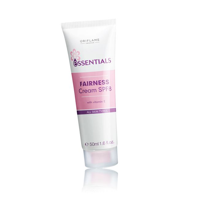 Oriflame Essentials Fairness Cream SPF 8 (23760) - Moisturises, brightens, and prevents UV-induced pigmentation. Rich formula with skin lightening complex, vitamin E and SPF 8. Suitable for all skin types. 50  ml.