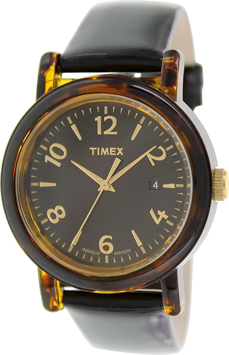Timex Originals Black Dial Black Leather Ladies Watch T2P238 *** Read more at the image link.