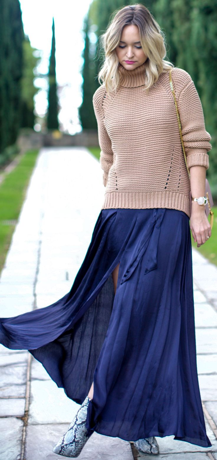 Camel Turtleneck On Navy Maxi Skirt Fall Street Style Inspo by Late Afternoon