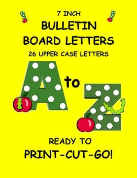 These letters are a delightful, playful set of green polka dot upper case letters. Each letter features a worm and apple. These letters are sure to brighten up any classroom. What could be better than to go back to school with apples and worms and polka dots? Great for a beginning of the year bulletin board or word wall. $3.00
