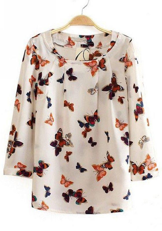 Beige Floral Pleated Long Sleeve Cotton Blend Blouse $28