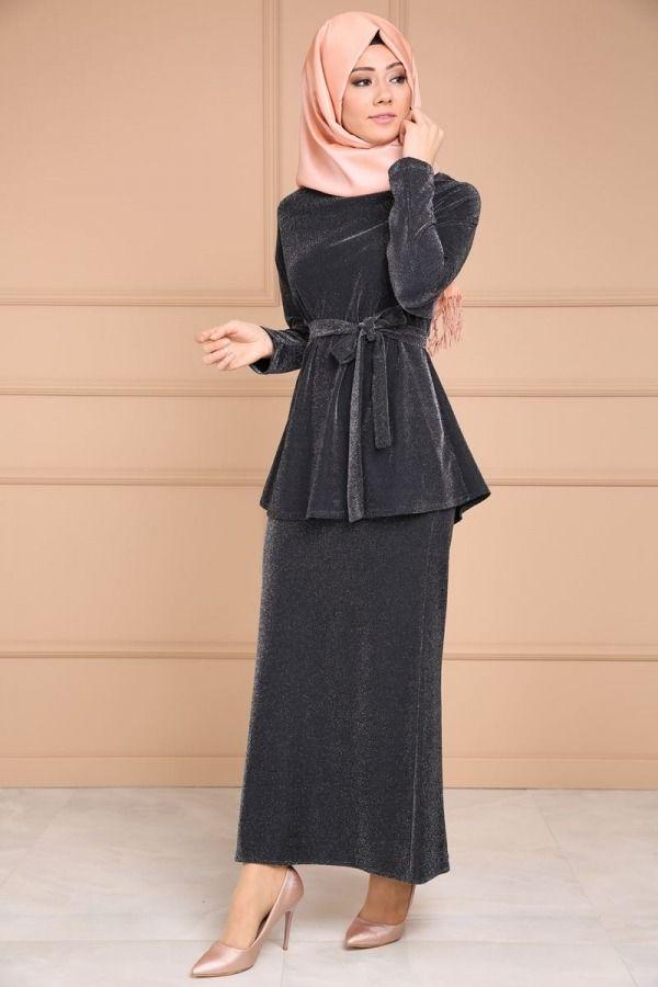 Ecem Simli Ikili Kombin Bnm00336 Siyah The Dress Elbise Peplum Elbise