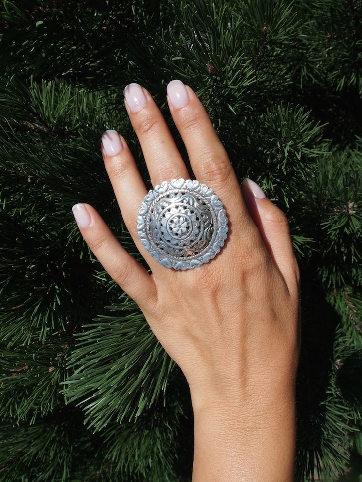 Inel floare ajurată, argint, india