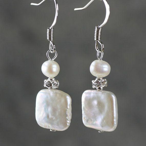 Pearl Earrings drop bridal wedding dangle square by AniDesignsllc, $9.95