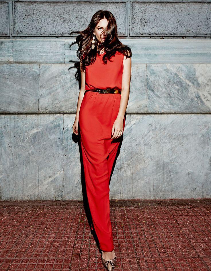 elegant evening red minimal long dress, chic style