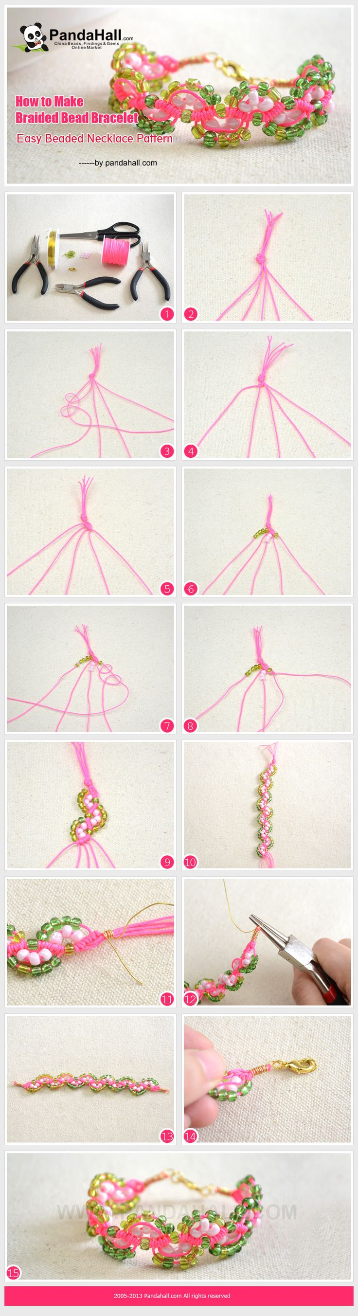 How to Make Braided Bead Bracelet – Easy friendship bracelet Pattern from pandahall.com