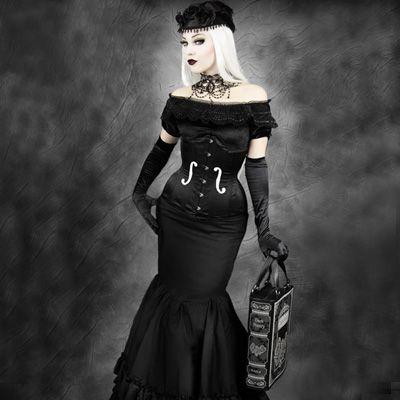 Viool underbust corset zwart satijn - Gothic