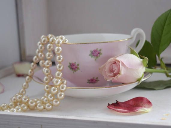 Vintage 1940s Adderley Pink Rose Floral Bone China shabby
