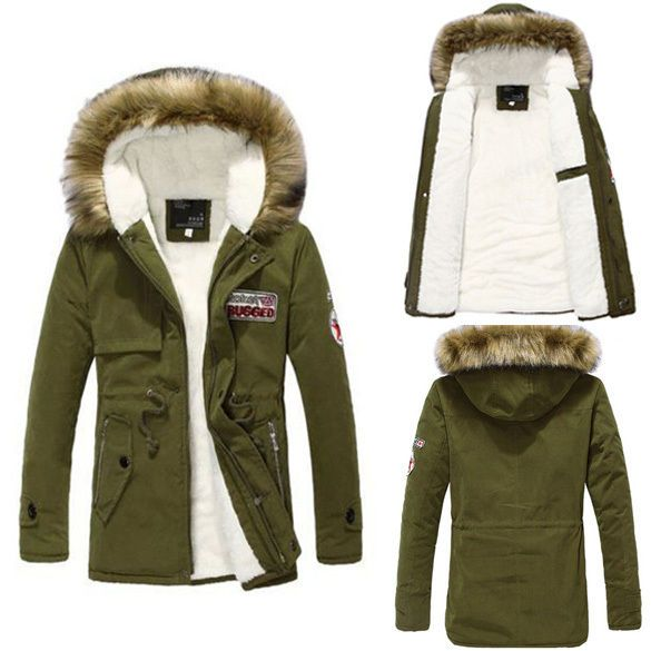 Mens Casual Warm Fur Collar Hooded Parka Winter Thick Down Coat Jacket Outwear E #Unbranded #Parka