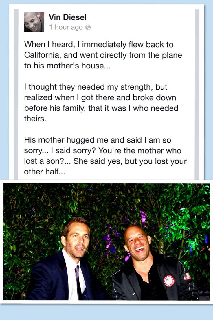 Vin Diesel talks about when he went to Paul's parents house.