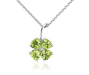 Peridot Flower Pendant in 14k White Gold