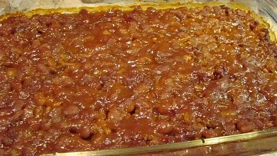 BAKED BEANS WITH GROUND BEEF:  Decidedly Southern, this recipe was adapted from a local's.  Even I loved it, and I don't eat a lot of baked beans.