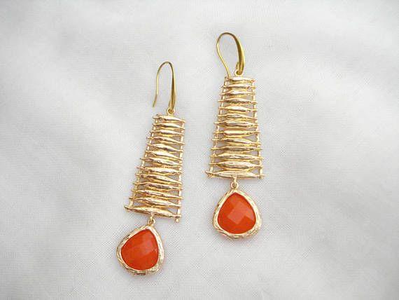 Coral crystal drops Gold earrings Long earrings Crystal