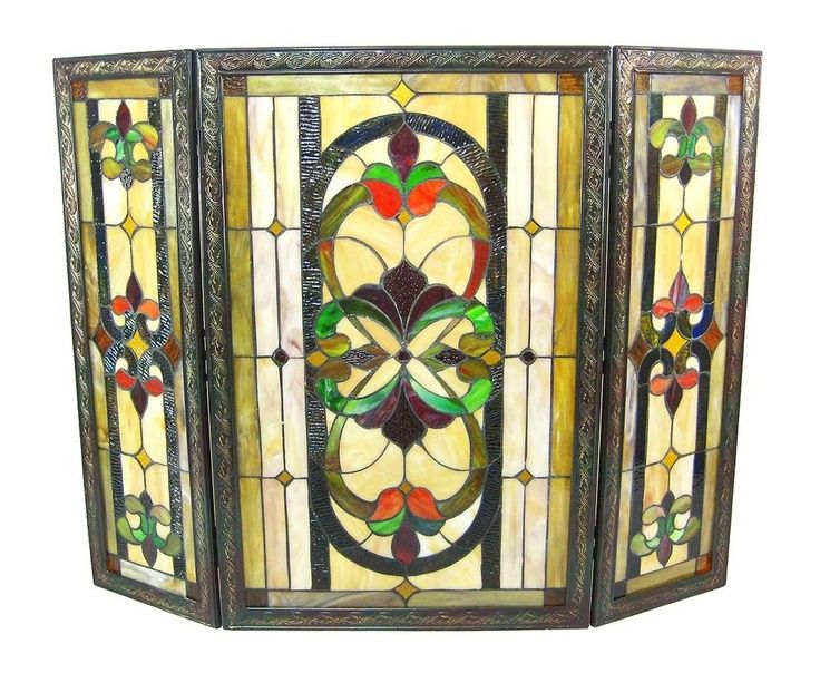 stained glass fireplace screens   Victorian stained glass fireplace screen 31 x 40 ...   Home Decor
