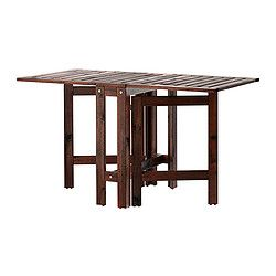 Two folding drop-leaves allow you to adjust the table size according to your needs. For added durability and so you can enjoy the natural expression of the wood, the furniture has been pre-treated with several layers of semi-transparent wood stain.