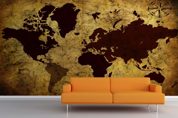 Ancient Style World Map Mural