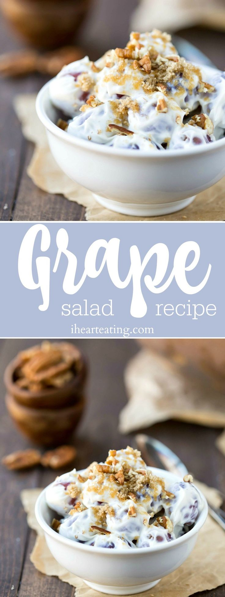 Grape Salad Recipe - simple healthy dessert or side salad recipe that is made with healthy ingredients.