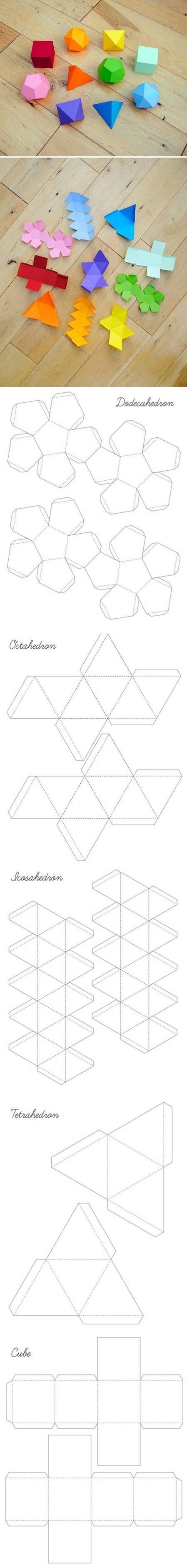 Patrons pour mobiles papier géométriques | DIY Geometrical Box Templates by diyforever