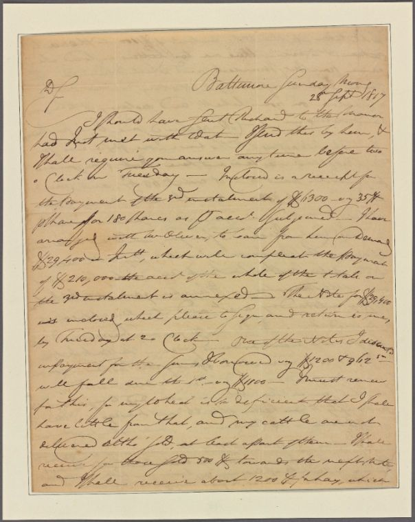 Letter to [Charles Carroll, Doughoregan Manor, Md.] From New York Public Library Digital Collections.
