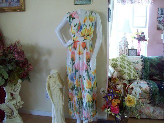 Watercolor Garden of Flowers Maxi Dress Sheer w/Lining Sz.