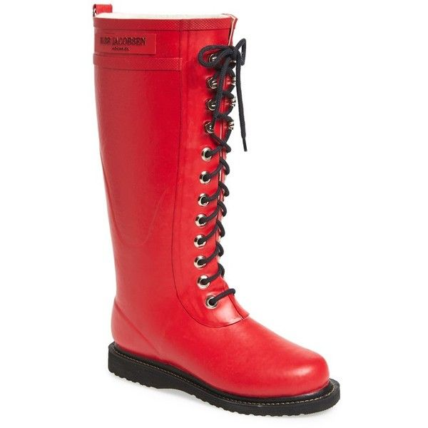 Women's Ilse Jacobsen Hornbaek Rubber Boot ($199) ❤ liked on Polyvore featuring shoes, boots, deep red, knee-high boots, knee high boots, red knee high boots, red rain boots, wide calf rain boots and lace up boots
