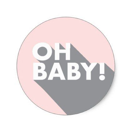 Oh Baby Modern Retro Blush & Grey Baby Classic Round Sticker - baby gifts child new born gift idea diy cyo special unique design