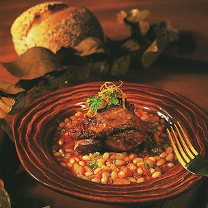 Braised Lamb Shanks. I make these in the pressure cooker, leave out the beans and serve over pasta. Yummy.